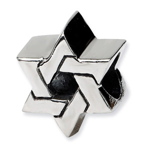 .925 Sterling Silver Star of David Bead