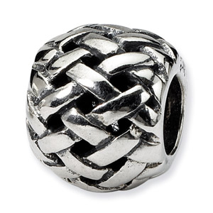 .925 Sterling Silver Basketweave Bali Bead