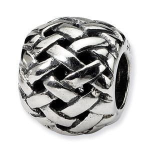 .925 Sterling Silver Basketweave Bali Bead