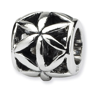 .925 Sterling Silver Floral Bali Bead
