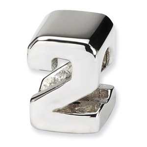 .925 Sterling Silver Numeral 2 Bead