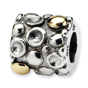 Sterling Silver & 14K Gold Dots Bali Bead