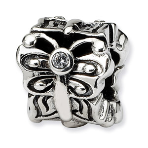 Sterling Silver Butterfly with CZ  Accent Bali Bead