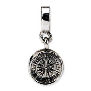 .925 Sterling Silver Compass Dangle Bead