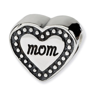 .925 Sterling Silver Mom Heart Bead