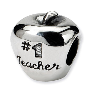 Image of .925 Sterling Silver #1 Teacher on Apple Bead