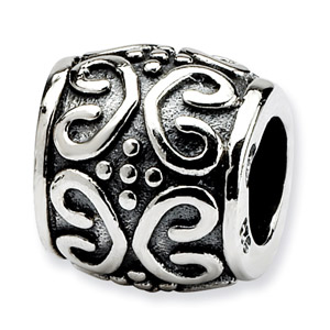 .925 Sterling Silver Scroll & Dots Bali Bead