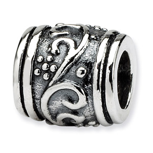 925 Sterling Silver Floral Bead