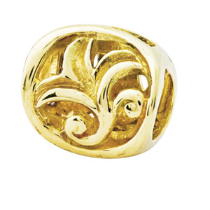 14K Gold Leaf Design Bali Bead