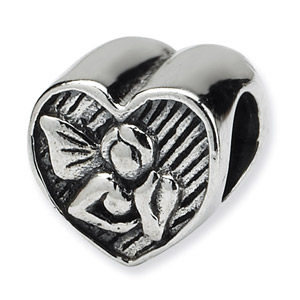 .925 Sterling Silver Angel Heart Bead