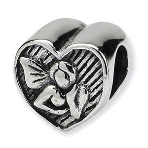 .925 Sterling Silver Angel Heart Bead