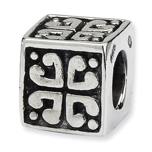 .925 Sterling Silver Heart Cube Bead