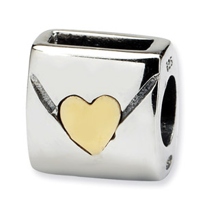 Sterling Silver & 14K Gold Love Note Bead
