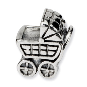 .925 Sterling Silver Baby Carriage Bead