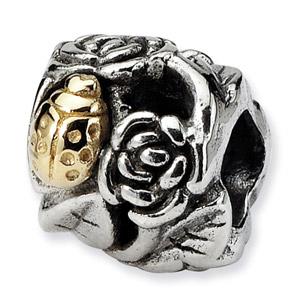 Sterling Silver & 14K Gold Ladybug Floral Bead