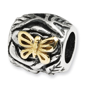 .925 Sterling Silver & 14k  Butterfly Floral Bead