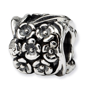 .925 Sterling Silver Floral Bead