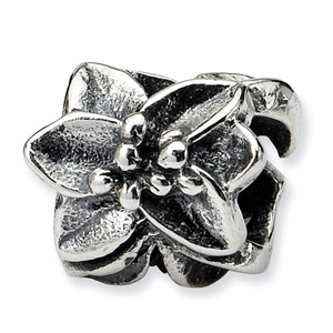 .925 Sterling Silver Plumeria Floral Bead