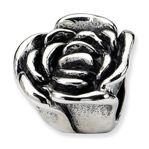 .925 Sterling Silver Rose Floral Bead