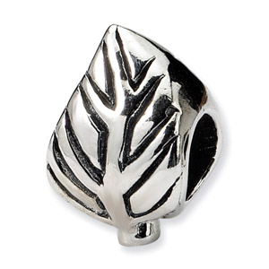 .925 Sterling Silver Leaf Design Bead