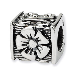 Sterling Silver Floral Cube Bead