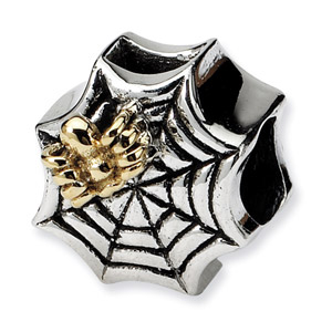 Sterling Silver & 14k Spider Web Bead