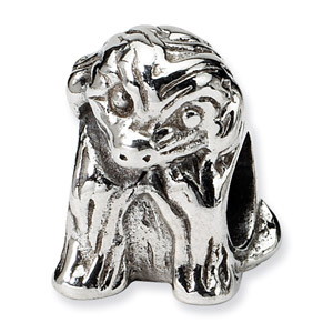 .925 Sterling Silver Sitting Puppy Bead