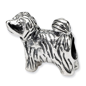.925 Sterling Silver Puppy Bead