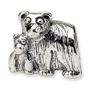 .925 Sterling Silver Mama & Baby Bear Bead