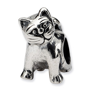 .925 Sterling Silver Cat Bead