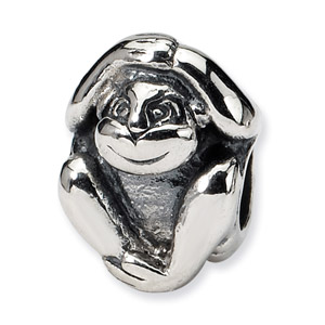 Sterling Silver Monkey Bead