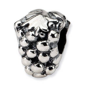 .925 Sterling Silver Grapes Bead