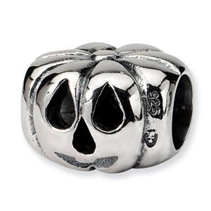 .925 Sterling Silver Jack o Lantern Bead