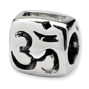 .925 Sterling Silver Om Symbol Bead
