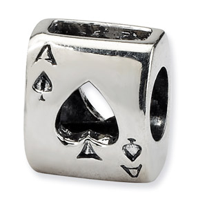 .925 Sterling Silver Ace Card Bead