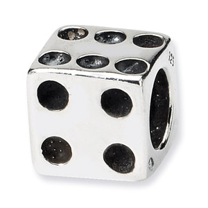 .925 Sterling Silver Dice Bead