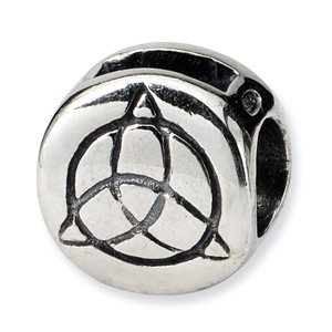 .925 Sterling Silver Celtic Trinity Bead
