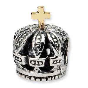 .925 Sterling Silver & 14k  Crown Bead