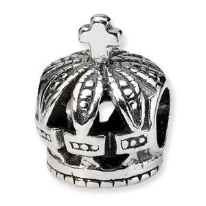 .925 Sterling Silver Crown Bead