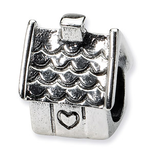 .925 Sterling Silver House Bead