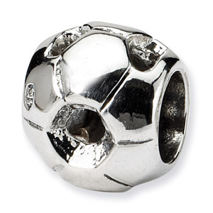 Sterling Silver Soccer Ball Bead