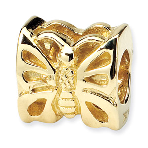 14K Yellow Gold Butterfly Bead