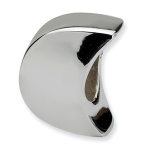 .925 Sterling Silver Moon Bead