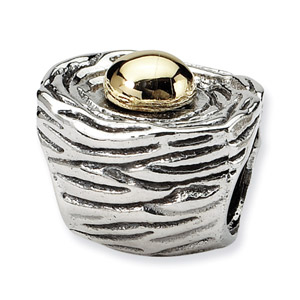 Sterling Silver & 14K Gold Birds Nest Bead