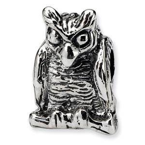 .925 Sterling Silver Owl Bead