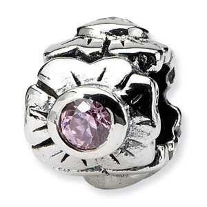 .925 Sterling Silver Posey Bead with  CZ Accent