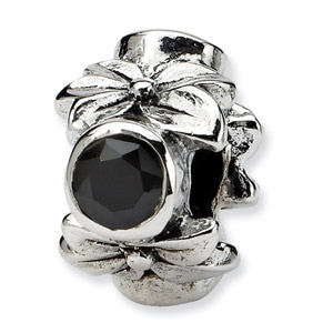 .925 Sterling Silver Plumeria Bead with CZ Accent