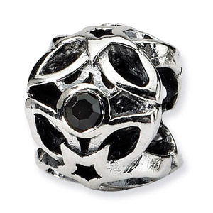 Sterling Silver Black CZ Bead