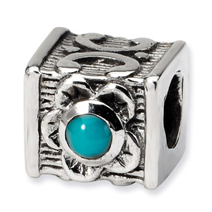 Sterling Silver Turquoise CZ Bead