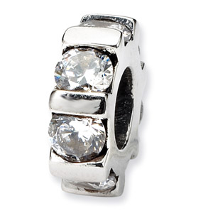 Sterling Silver CZ Bead